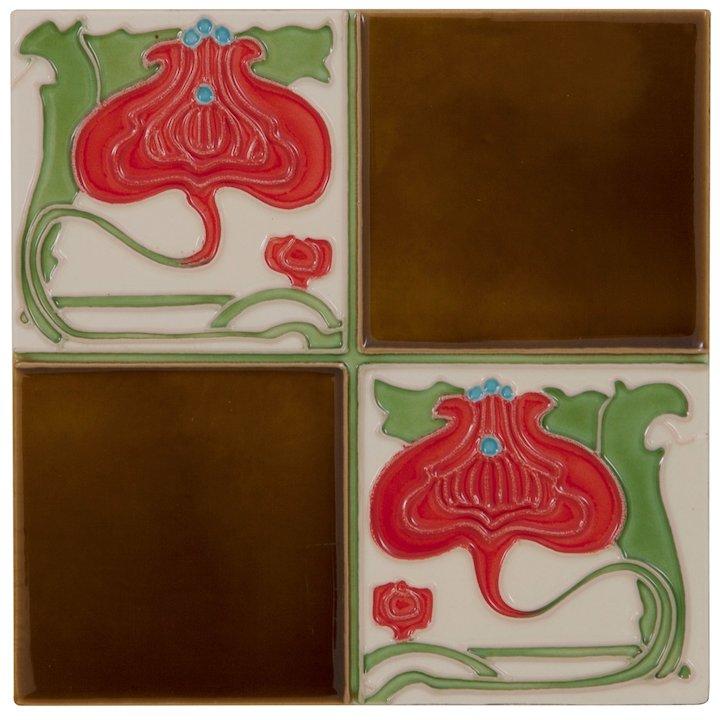 Carron LGC029 Single Tubelined Ceramic Fireplace Tile - Brown