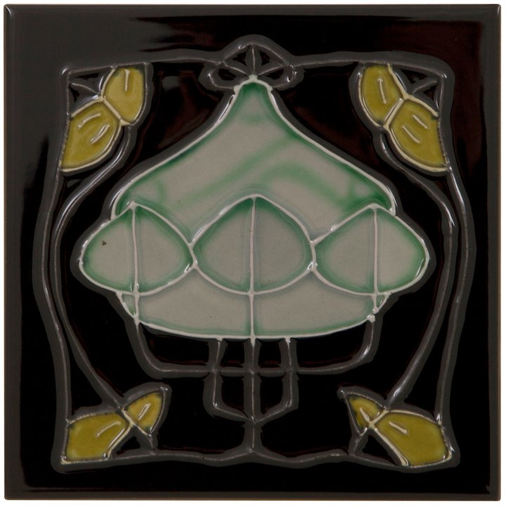 Carron LGC090 Single Tubelined Ceramic Fireplace Tile - Green