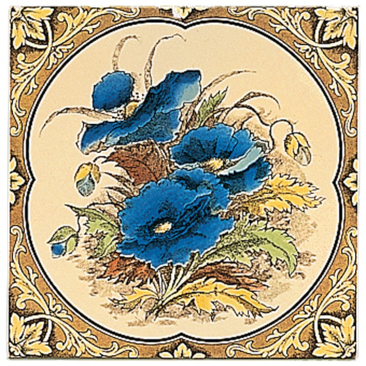 Stovax Blue Poppies Single Ceramic Fireplace Tile - Multicolour