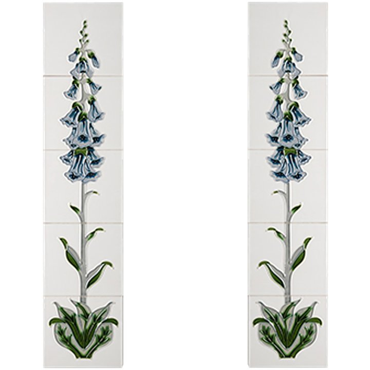 Cast-Tec Foxglove Tubelined Ceramic Fireplace Tile Set (10) - Blue