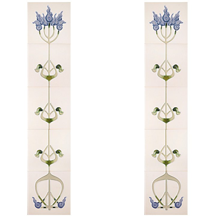 Cast-Tec Liberty Tubelined Ceramic Fireplace Tile Set (10) - Blue