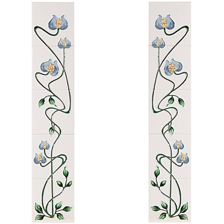 Cast-Tec Mediterranean Poppy Tubelined Ceramic Fireplace Tile Set (10) - Blue