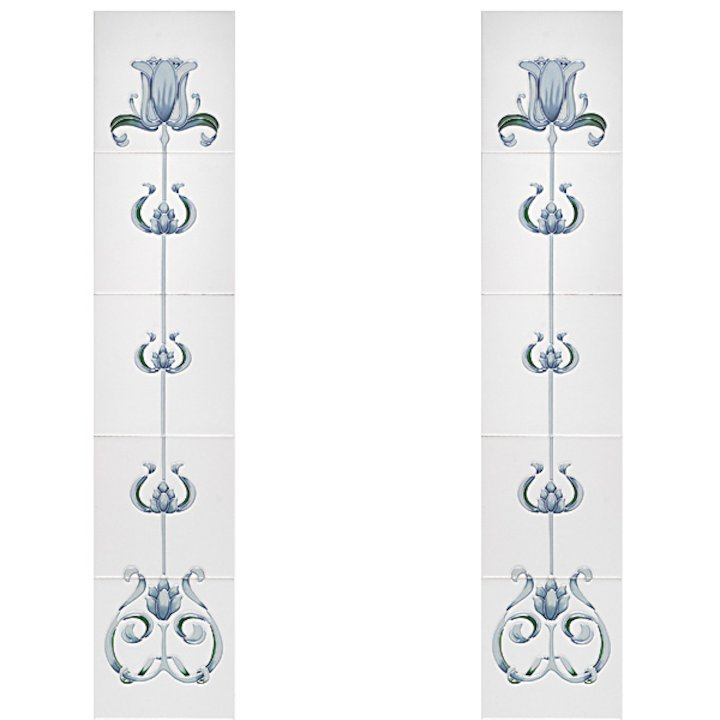 Cast-Tec Tulip Tubelined Ceramic Fireplace Tile Set (10) - Blue