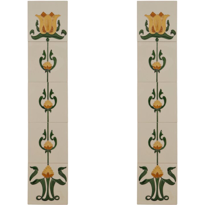 Carron LGC083 Tubelined Single Ceramic Fireplace Tile - Ivory
