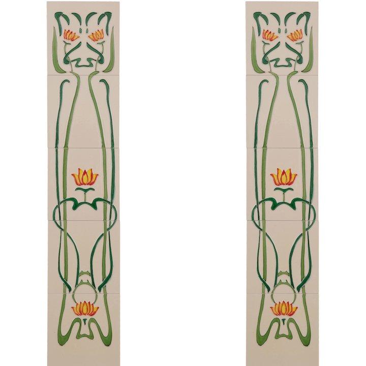 Carron LGC012 Tubelined Single Ceramic Fireplace Tile - Ivory
