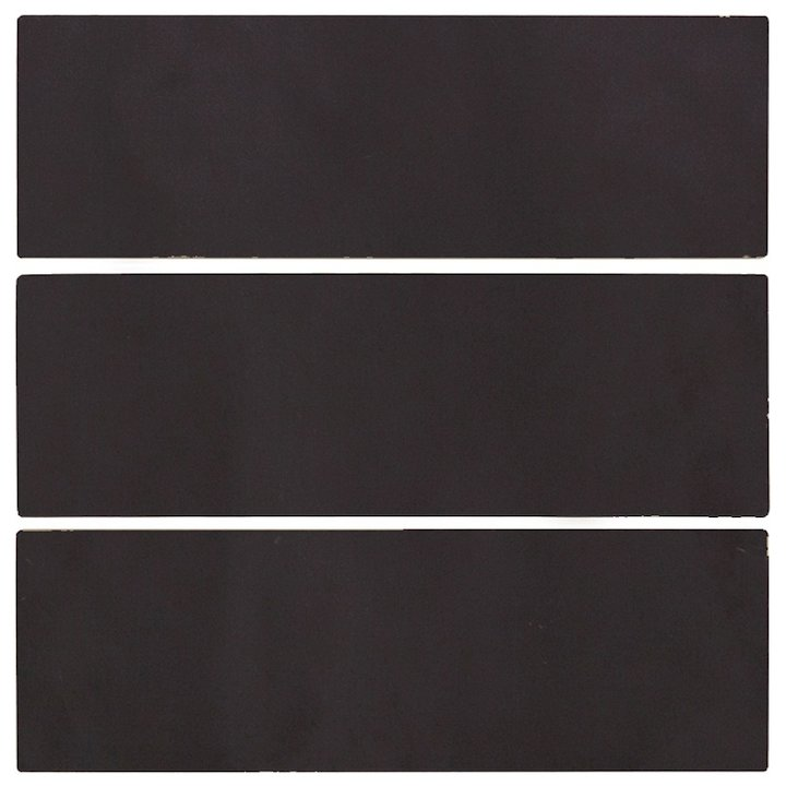 Carron Plain 6x2 Glazed Ceramic Fireplace Tiles (Pack of 6) - Black