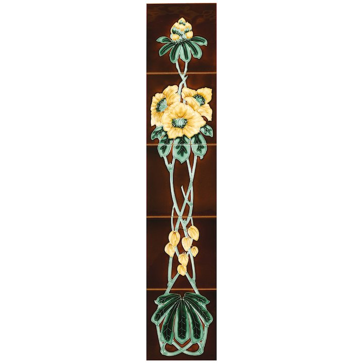 Stovax Rhododendron Tubelined Ceramic Fireplace Tile Set (5) - Brown