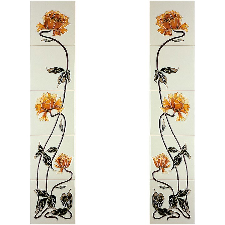 Gallery Sweeping Rose Tubelined Ceramic Fireplace Tile Set - Yellow