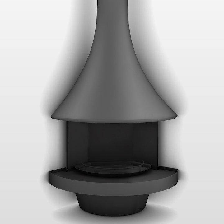 JC Bordelet Eva 992 Corner Open Fireplace - Anthracite Grey