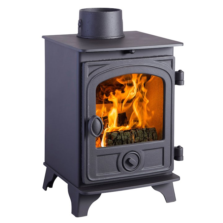 Hunter Hawk 3 Wood Stove Black Contemporary Door - Black