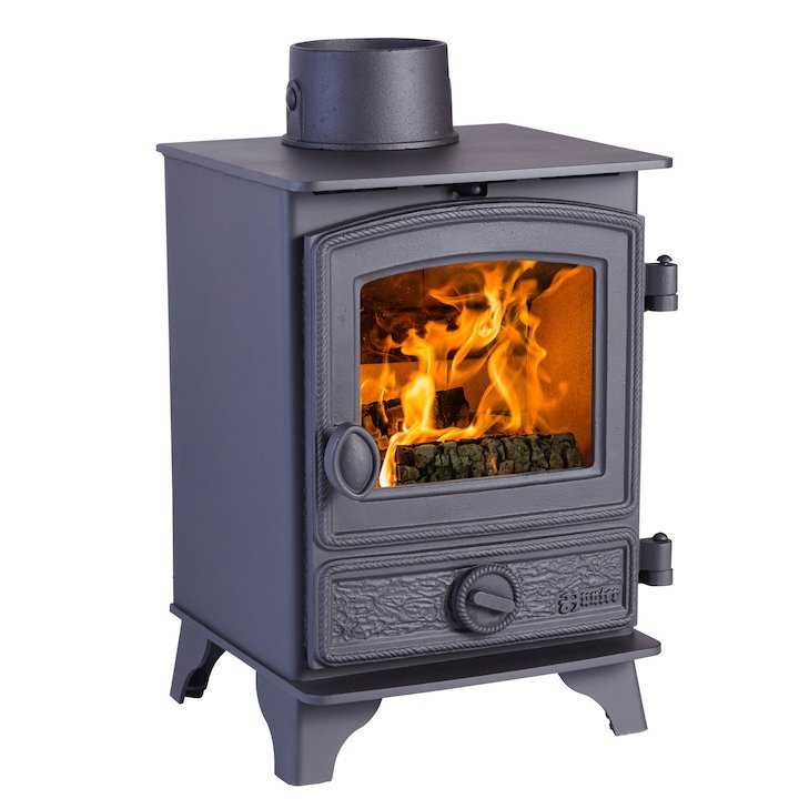 Hunter Hawk 3 Wood Stove Black Rope Effect Door - Black