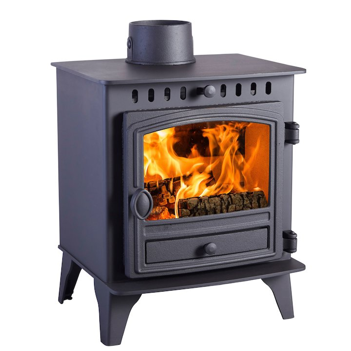 Hunter Herald 4 Wood Stove Black Single Door - Black