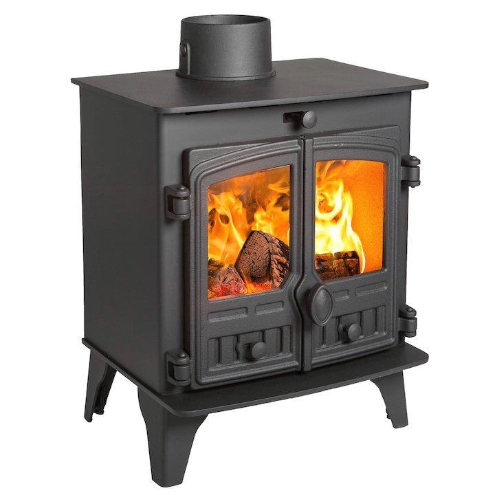 Hunter Herald 5 Compact Wood Stove Black Double Doors - Black