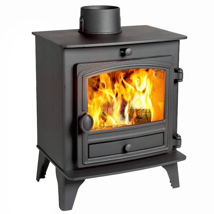Hunter Herald 5 Compact Wood Stove Black Single Door - Black