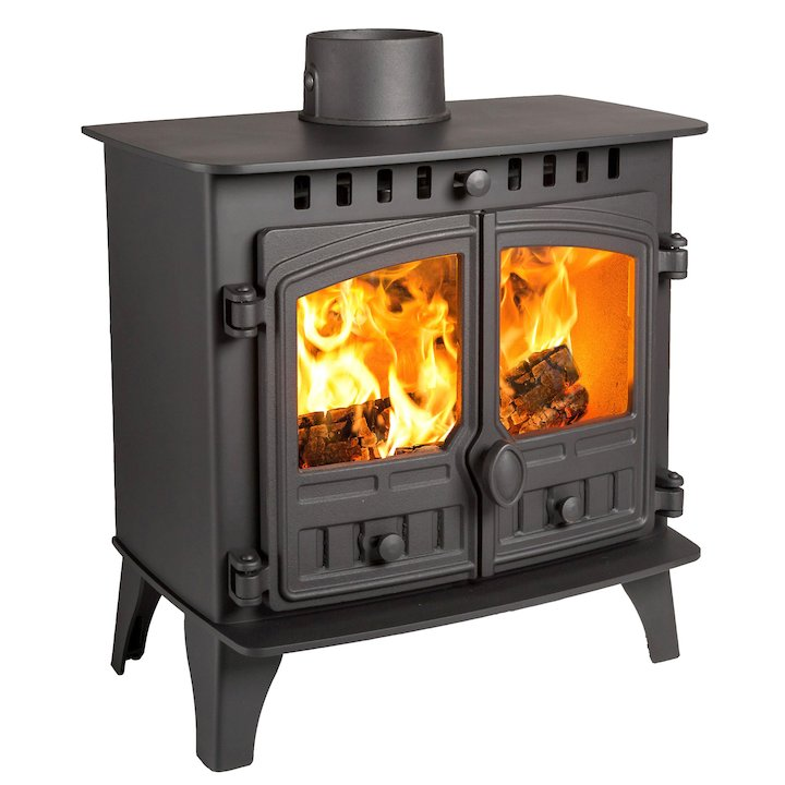 Hunter Herald 5 Slimline Wood Stove Black Double Doors - Black