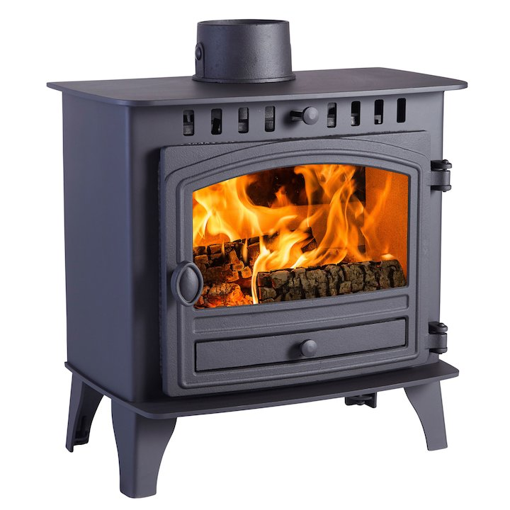 Hunter Herald 5 Slimline Wood Stove Black Single Door - Black