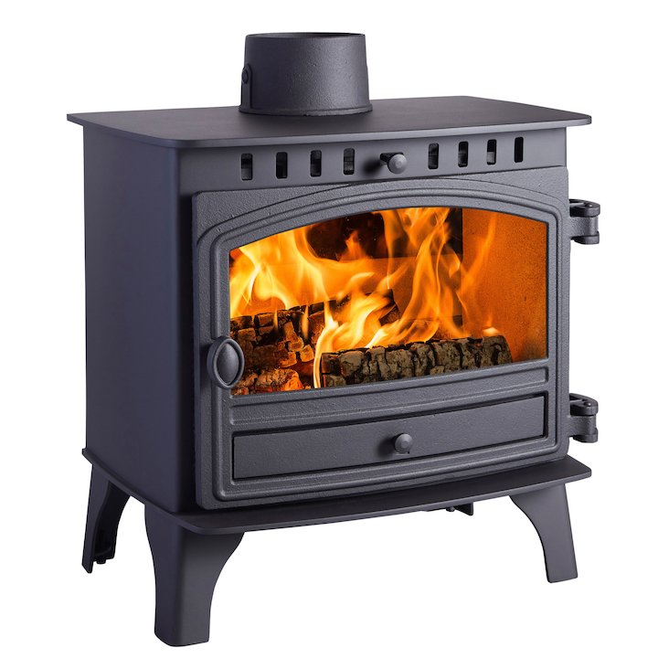 Hunter Herald 8 Wood Stove Black Single Door - Black