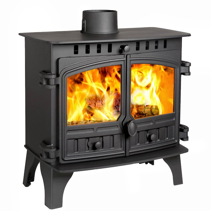 Hunter Herald 8 Slimline Wood Stove Black Double Doors - Black
