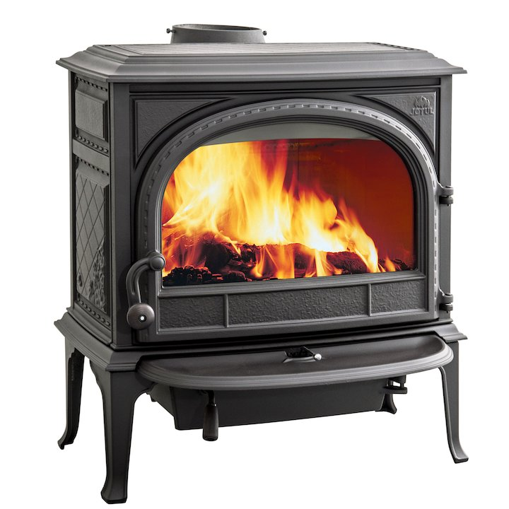 Jotul F400 Wood Stove Black Clear Glass Door - Black