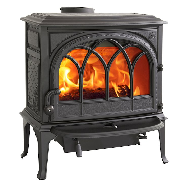 Jotul F400 Wood Stove Black Tracery Glass Door - Black