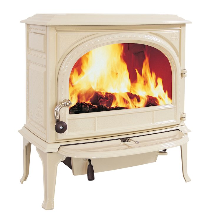 Jotul F400 Wood Stove Enamel Ivory Clear Glass Door - Enamel Ivory