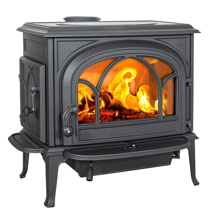 Jotul F500 Wood Stove Black Tracery Glass Door - Black