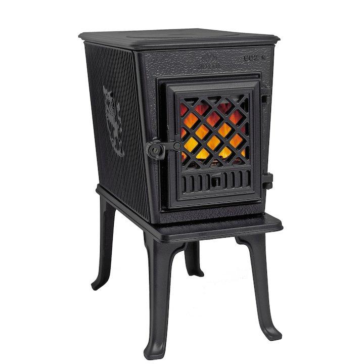 Jotul F602 Wood Stove Black Tracery Glass Door - Black