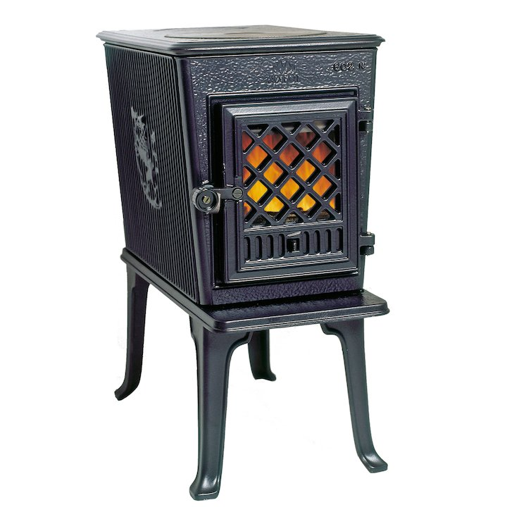 Jotul F602 Wood Stove Enamel Blue/Black Tracery Glass Door