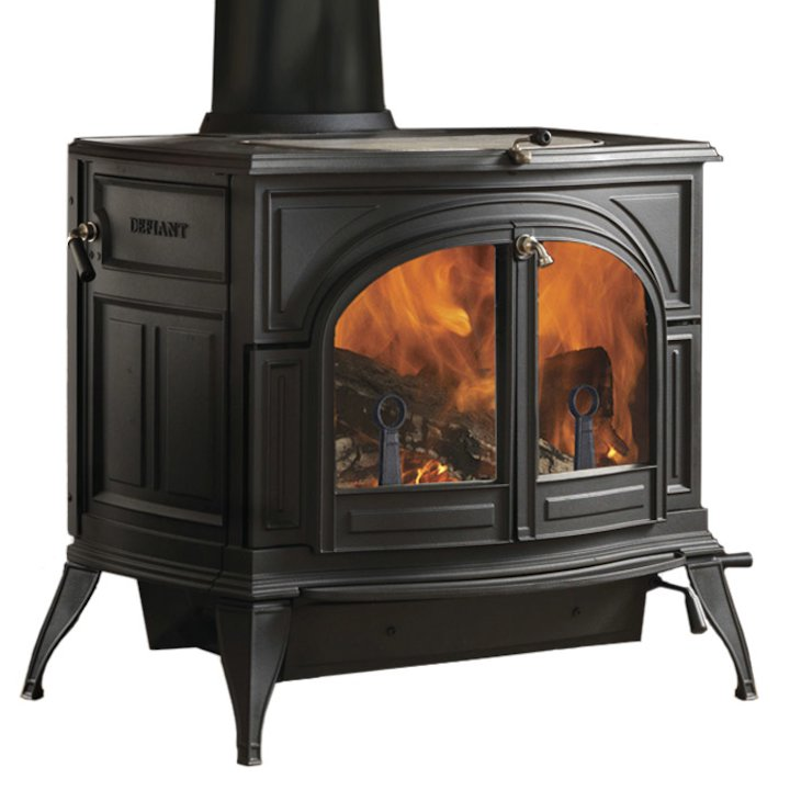 Vermont Defiant 2in1 Wood Stove Black Clear Glass Door - Black