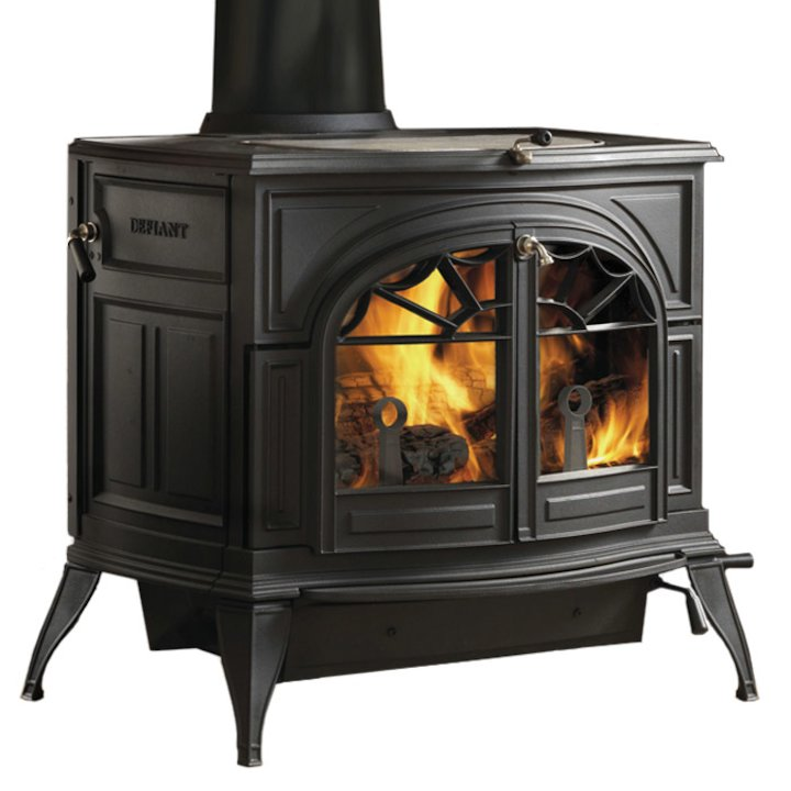 Vermont Defiant 2in1 Wood Stove Black Tracery Glass Door - Black