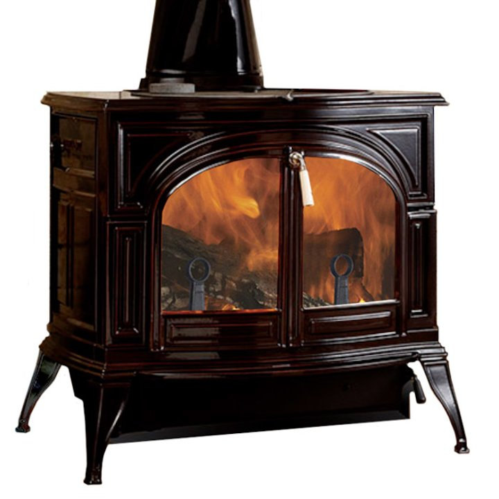 Vermont Defiant 2in1 Wood Stove Enamel Majolica Brown Clear Glass Door - Enamel Majolica Brown