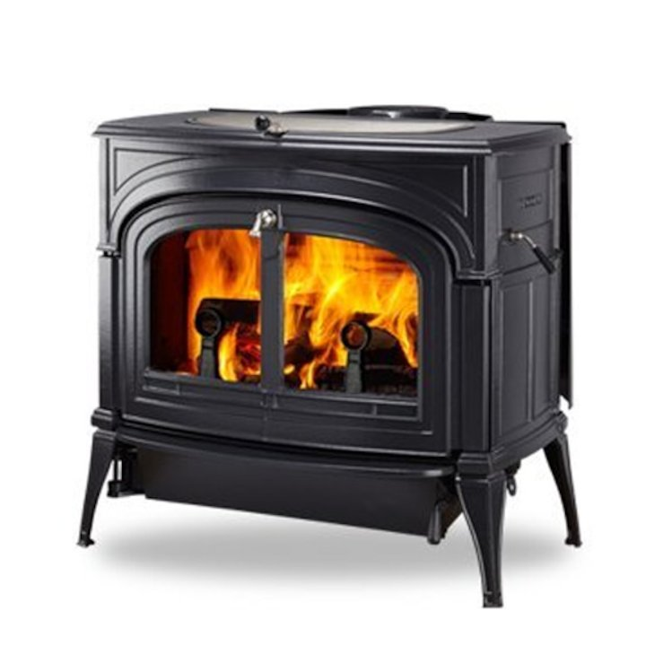 Vermont Encore 2in1 Wood Stove Black Clear Glass Door - Black