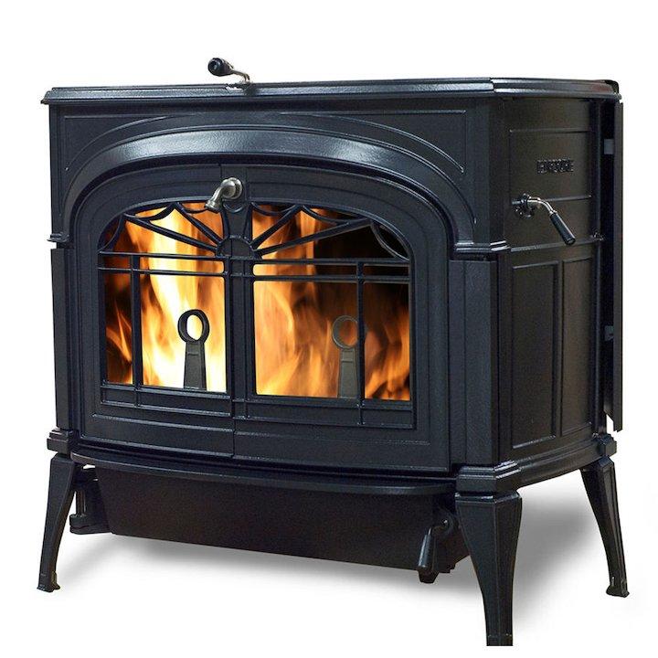 Vermont Encore 2in1 Wood Stove Black Tracery Glass Door - Black