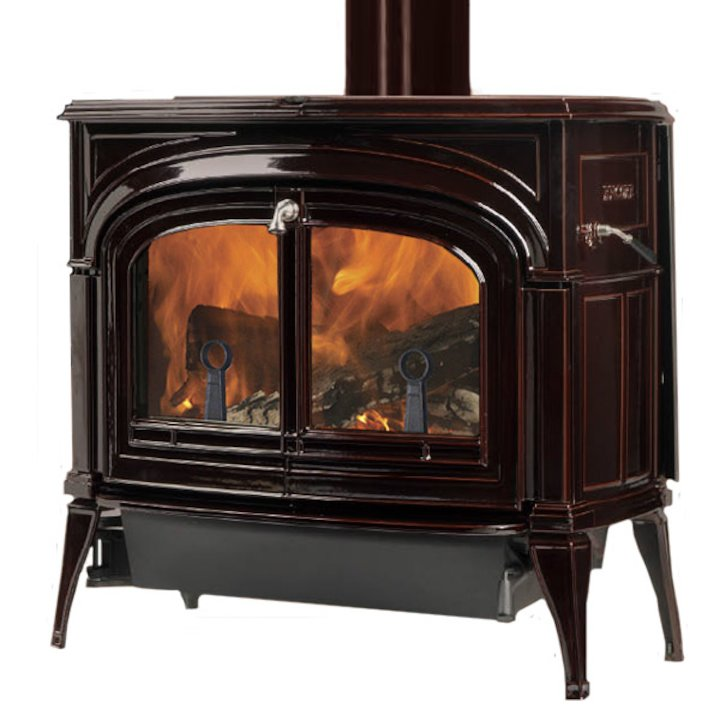 Vermont Encore 2in1 Wood Stove Enamel Majolica Brown Clear Glass Door - Enamel Majolica Brown