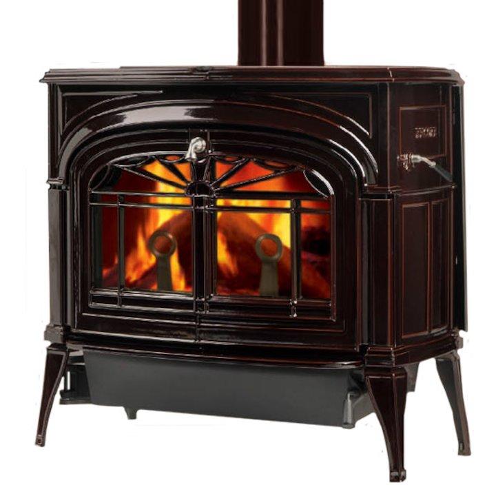 Vermont Encore 2in1 Wood Stove Enamel Majolica Brown Tracery Glass Door - Enamel Majolica Brown