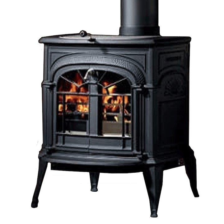 Vermont Intrepid II Wood Stove Black Tracery Glass Door - Black