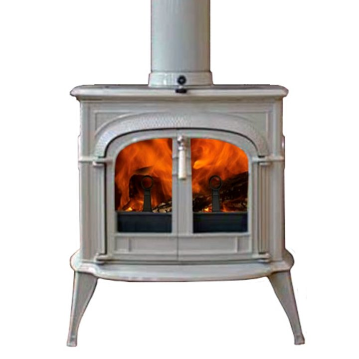 Vermont Intrepid II Wood Stove Enamel Biscuit Clear Glass Door - Enamel Biscuit