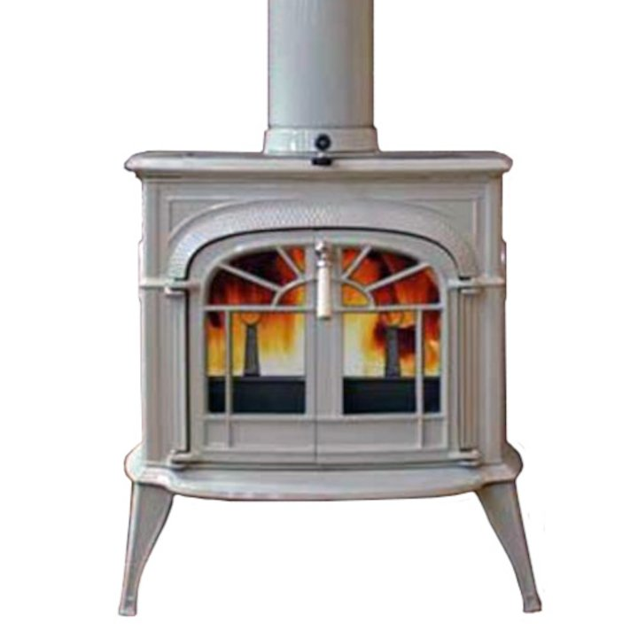Vermont Intrepid II Wood Stove Enamel Biscuit Tracery Glass Door - Enamel Biscuit