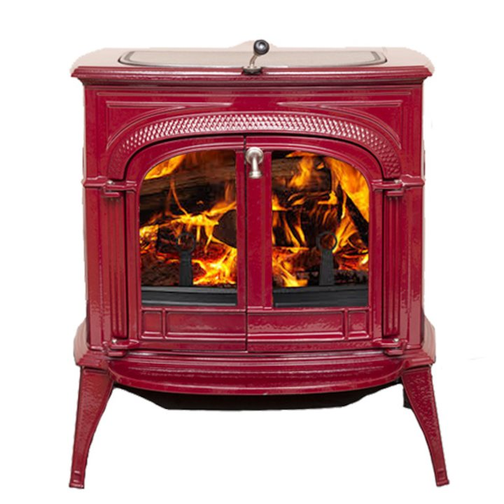 Vermont Intrepid II Wood Stove Enamel Bordeaux Clear Glass Door - Enamel Bordeaux