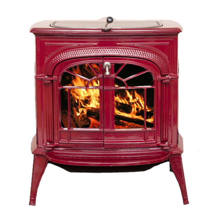 Vermont Intrepid II Wood Stove Enamel Bordeaux Tracery Glass Door - Enamel Bordeaux