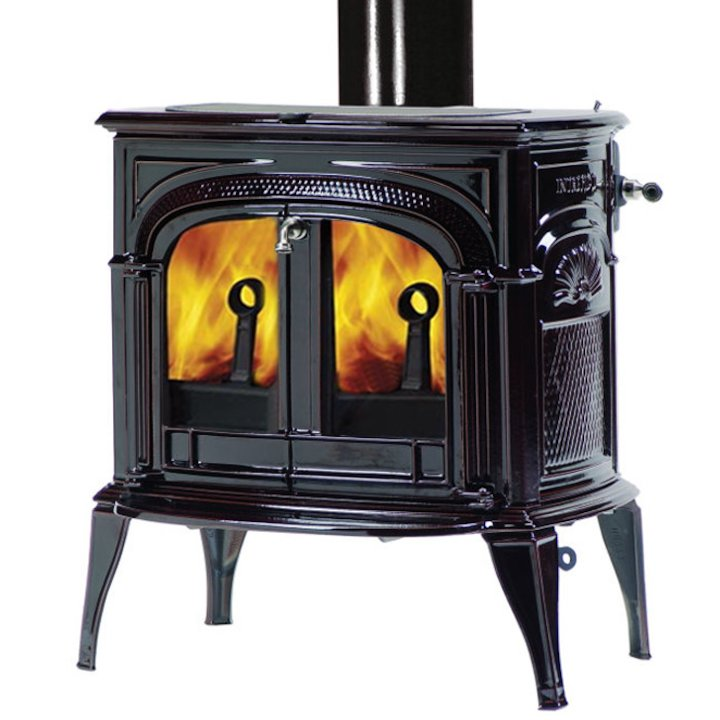 Vermont Intrepid II Wood Stove Enamel Majolica Brown Clear Glass Door - Enamel Majolica Brown