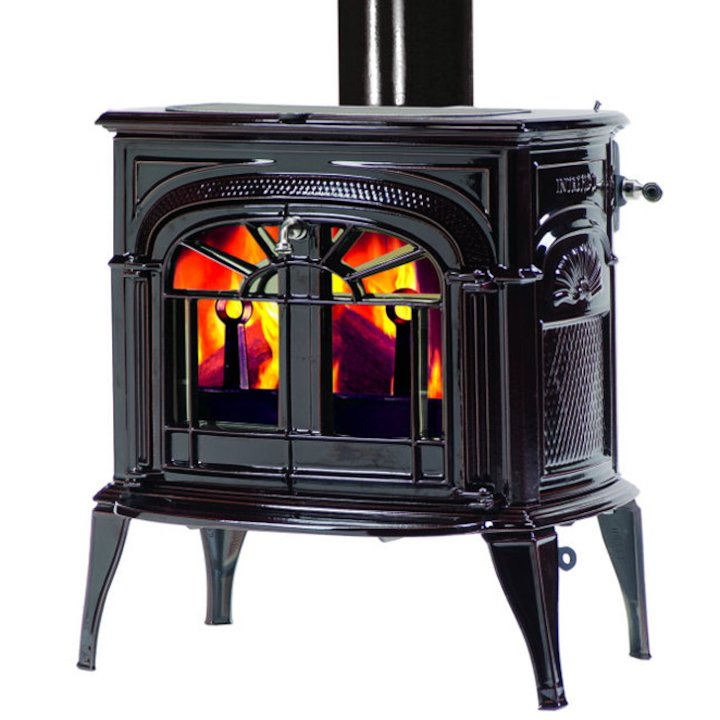 Vermont Intrepid II Wood Stove Enamel Majolica Brown Tracery Glass Door - Enamel Majolica Brown