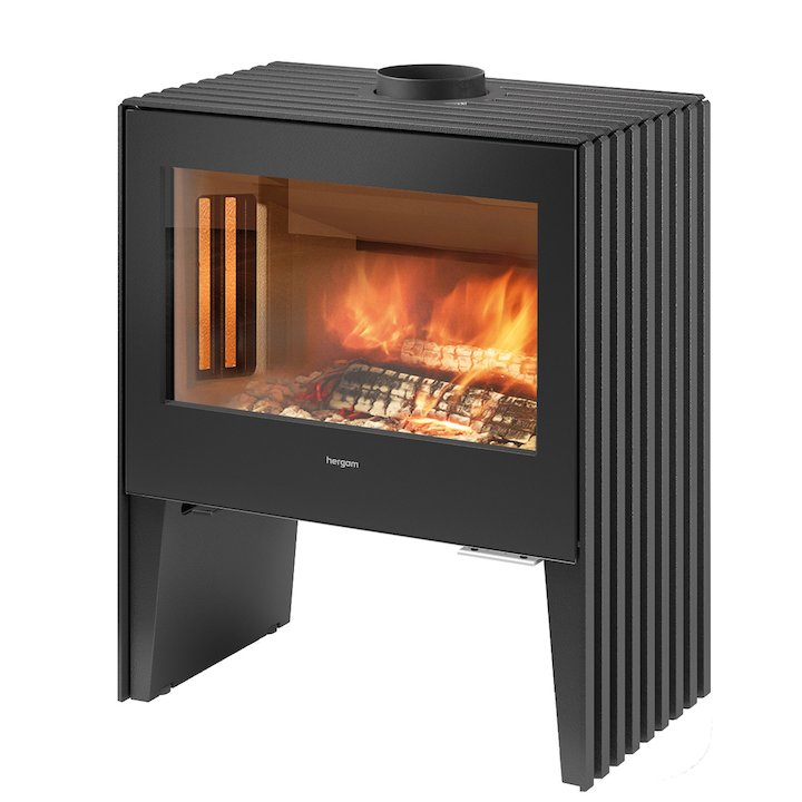 Hergom Glance Wide Wood Stove - Black