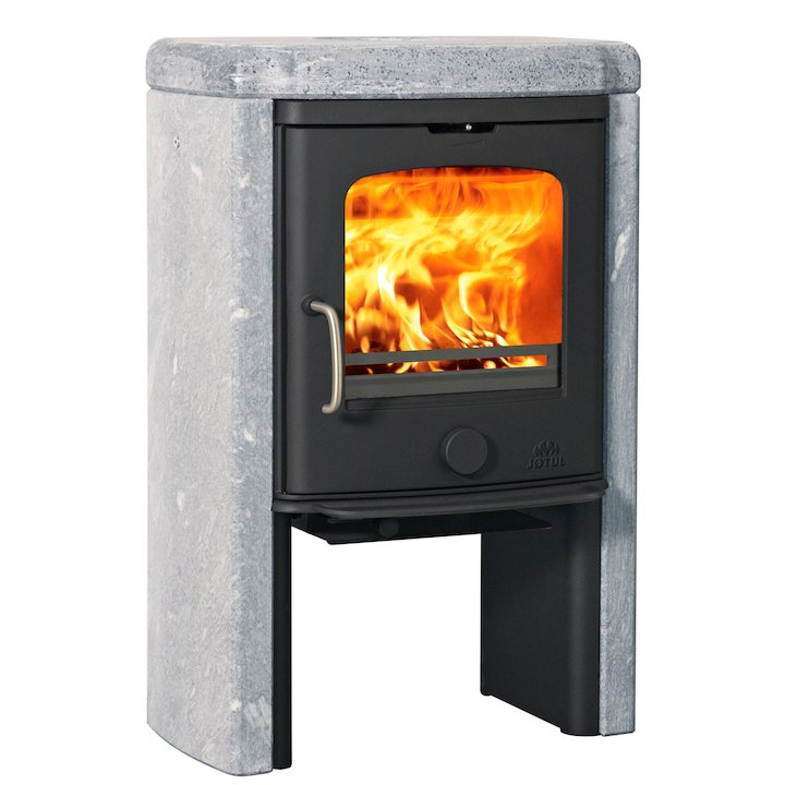 Jotul F145 Tall Wood Stove Black Soapstone Sides - Black