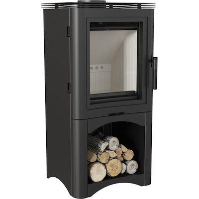 Kratki Koza K5 Logstore Wood Stove Black Open Logstore