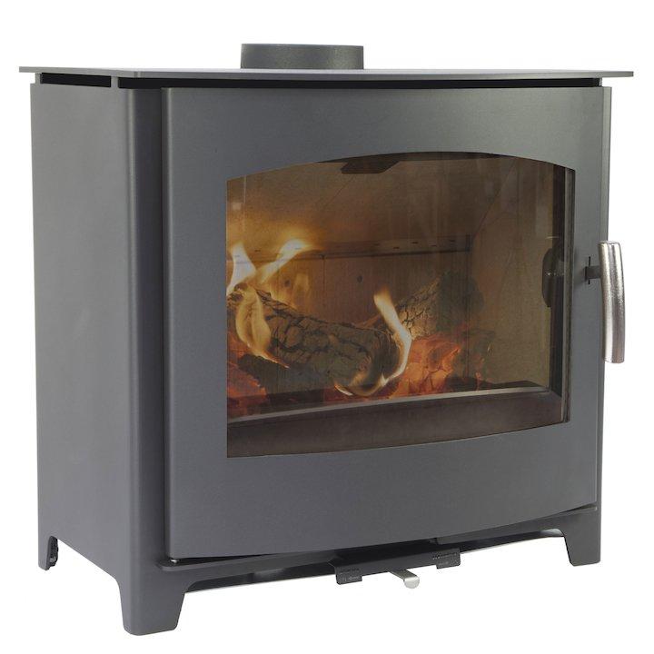 Mendip Churchill 10 Wood Stove Black Radiant Sides - Black