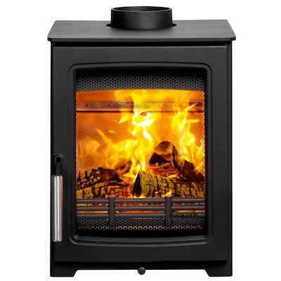 Parkray Aspect 4 Compact Wood Stove Black Silver Handles