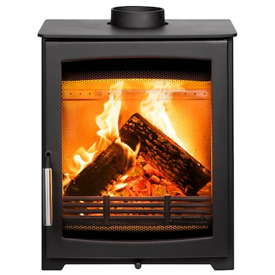 Parkray Aspect 5 Compact Wood Stove Black Silver Handles