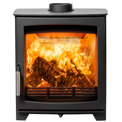 Parkray Aspect 5 Slimline Wood Stove Black Silver Handles