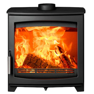 Parkray Aspect 8 Wood Stove Black Silver Handles